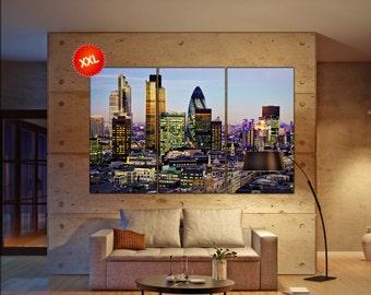 City of London canvas art prints large wall art black white canvas print City of London City Cityscape skyline City Office Decor