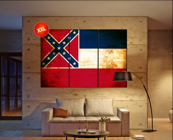 mississippi state flag canvas art print large  canvas print flag of the state of mississippi Wall Home decor interior Office Decor