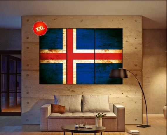 Iceland flag canvas wall art art print large  canvas wall art print Iceland country flag Wall Home office decor interior Office Decor