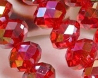 25-4x3 Swarovski crystal,Red AB Swarovski crystal beads,red AB 4x3 Rondelles, red Swarovski beads, red Rondelles, 4x3crystal,136  ships Usa