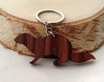 Wooden Otter Keychain, Walnut Wood, Animal Keychain, Environmental Friendly Green materials