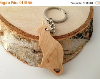 ON SALE, 5% OFF Wooden Cat Keychain, Birch Wood, Animal Keychain, Environmental Friendly Green materials