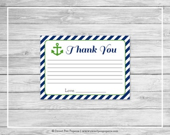 Nautical Baby Shower Thank You Cards - Printable Baby Shower Thank You Cards - Navy Green Baby Shower - Thank You Cards - SP120