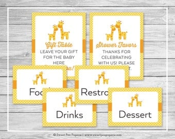 Giraffe Baby Shower Table Signs - Printable Baby Shower Table Signs - Yellow Giraffe Baby Shower - Baby Shower Signs - EDITABLE - SP131