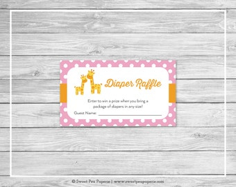 Giraffe Baby Shower Diaper Raffle Insert - Printable Baby Shower Diaper Raffle Cards - Pink Giraffe Baby Shower - Diaper Raffle - SP129