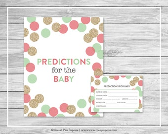 Mint and Coral Gender Reveal Predictions for Baby - Printable Gender Reveal Predictions for Baby - Coral Mint Gold Gender Reveal - SP132