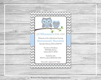 Owl Baby Shower Invitation - Printable Baby Shower Invitation - Blue Owl Baby Shower - Baby Shower Invitations - Owl Baby Shower - SP135