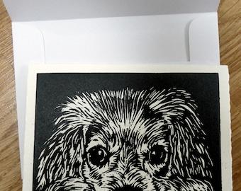 Linocut Greeting Card, Block Print Card, Animal Card