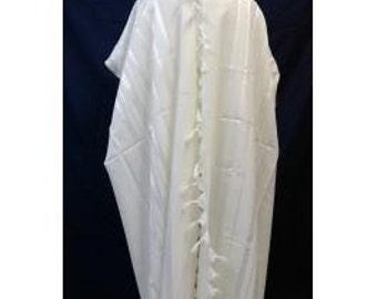 uniq tallit, jewish prayer shawl,White on white touches of silver, 100 wool,4 size' available