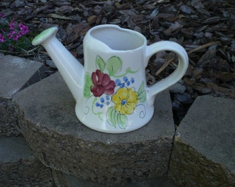 Hand-Painted Italy Ceramic Watering Pitcher