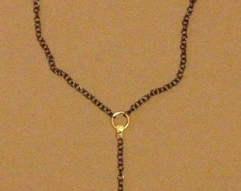 Gold plated Veined Agate Cross Necklace