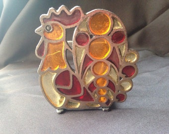 Vintage Stained Glass and Cast Iron, Rooster Napkin Holder