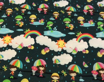 Rainy Day Clouds and Umbrellas  Children Puddle Jumpers   Limited Edition Custom printed fabric Cotton Lycra 95/5