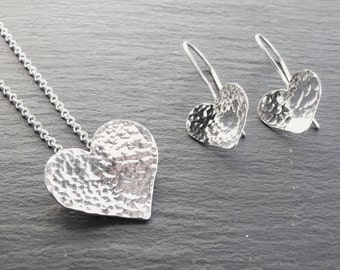 Handmade sterling silver hammered heart pendant necklace and Earrings, silver necklace, silver, heart necklace, valentines gift idea