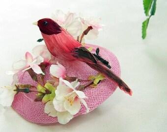Fascinator pale pink Bird