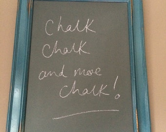 Medium Sized Blackboard with Upcycled  Vintage Style Distressed Blue Wooden Frame