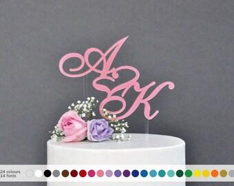 initial wedding Cake Topper  Custom Wedding Initials Monogram cake topper Personalized Cake topper Acrylic Cake Topper