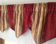 Cranberry Tan Purple Curtain VALANCE Toppers 54 x 18 in Lined Handmade