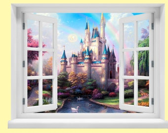 Window with a View Disney Fairytale Castle Wall Mural
