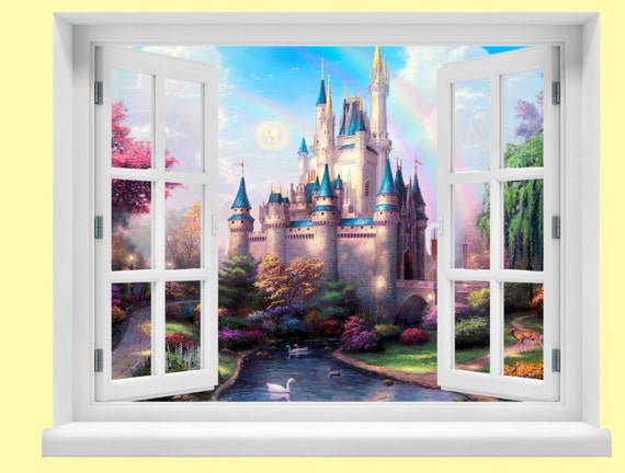 Window with a view disney fairytale castle wall mural for Fairy castle wall mural