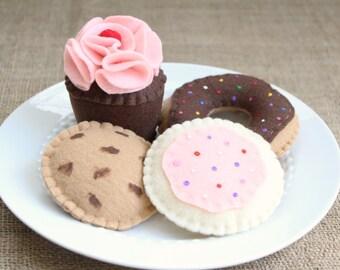 Felt Sweets Set In Bakery Box - Cupcake, Donut, Cookies