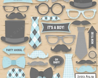 Printable Little Man Photo Booth Props Baby Shower Grey and Blue Pdf DIY INSTANT DOWNLOAD LM001