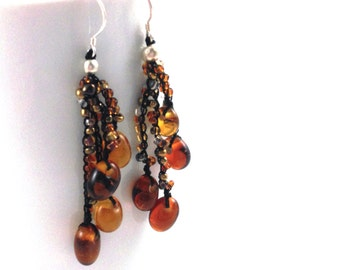 Brown Glass Bead Cluster Earrings
