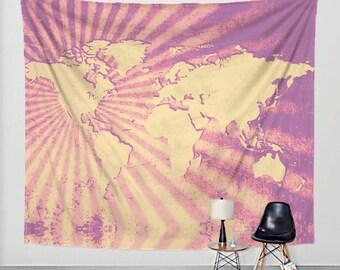 World Map Tapestry Sunburst Art Print Wall Hanging - Pink Purpe Yellow Grils Room