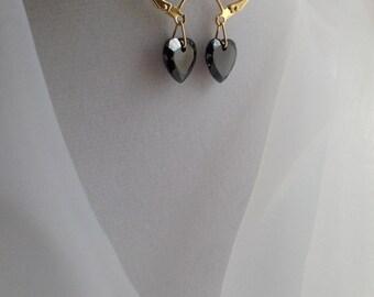 Awesome AB Black Hearts Swarovski Crystal Dangle Earrings