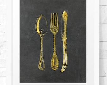 Gold Silverware art print, Kitchen Decor Art Print, Antique Silverware print, Printable Art, Home Decor, Kitchen Art, Kitchen Decor Print