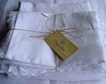 Linen Pillow case with with natural lace, Eco flax white pillow case, Organic softened linen pillow case
