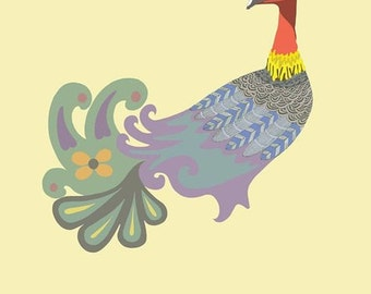 Retro Vintage-Style Brush Turkey, Sunshine Coast, Australian Animal Print, Graphic Art by Original Artist