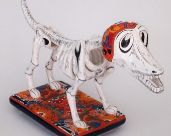 "Talavera Dog, LG Day of the Dead Dog, 20"" Talavera Pottery, Mexican Pottery"