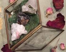 Beautiful Tourmaline Crystal Garden inside Vintage box