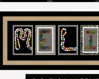 Letter Art-NAME-Framed-Unique Gift Idea-Beautifully Detailed-Customizable
