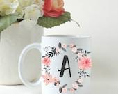 Personalized Floral Initial Mug. Rose Quartz Flower. Custom Coffee Mug. Tea Mug. Gift Mug.