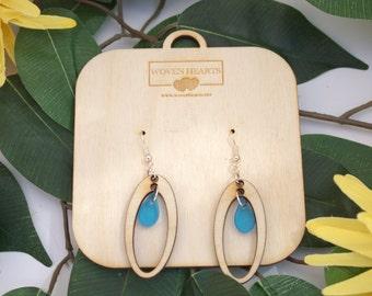Wooden Earrings, Laser-cut Wood and Acrylic Tear-drop Earrings
