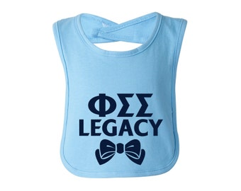 PhiSig Phi Sigma Sigma Legacy Baby Bib Choose Your Colors Sorority Baby Bib