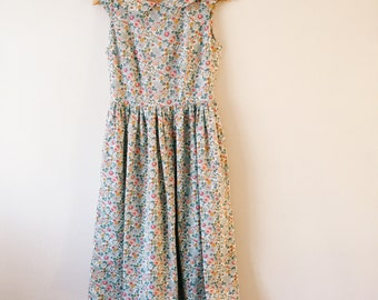 AMY Handmade Womens Liberty Print Princess Bodice Dress with Peter Pan Collar