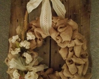 BURLAP wreath and flowers