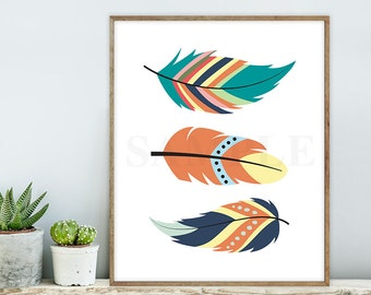rustic feathers sign / wall art print DIY / native american indian TRIBAL COLLECTION / modern, woodland nursery sign ▷ digital printable