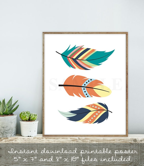 Kitchen Art Printables Collection Sale Instant Download: Rustic Feathers Sign / Wall Art Print DIY / Native American