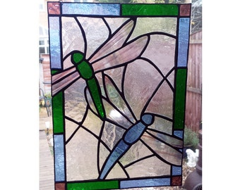 Dragonfly Stained Glass Panel, for wall, window or suncatcher