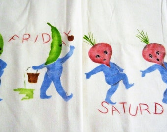 Anthropomorphic Dish Towel Vintage Hand Painted Vegetables Cotton Vintage Kitchen Linen Mid Century Whimsy
