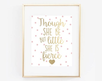 Little and Fierce Pink and Gold Digital Printable Gold Foil Baby Girl Nursery Wall Art