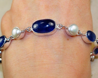 Iolite with River pearl  & 925 Sterling Silver Bracelet
