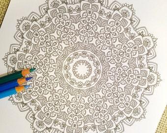 "Mandala ""Aztec"" - Hand Drawn Adult Coloring Page Print"
