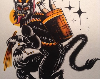 Krampus flash tattoo print