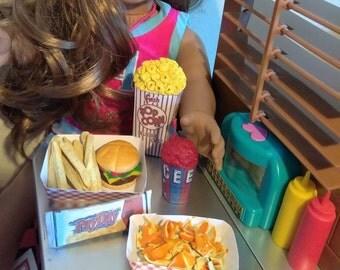 "AG Doll Food, Movie Night Food for 18"" Dolls, Doll Movie Food, Doll Food fits American girl Dolls, Doll Fries, Doll Popcorn, Doll Burger"