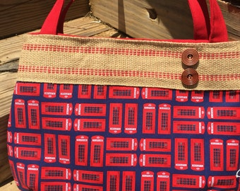 British phone booth shoulder bag in ted and blue